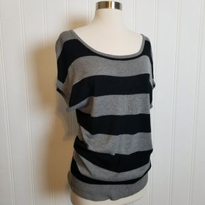 Olivia Sky, Button Back Striped Sweater